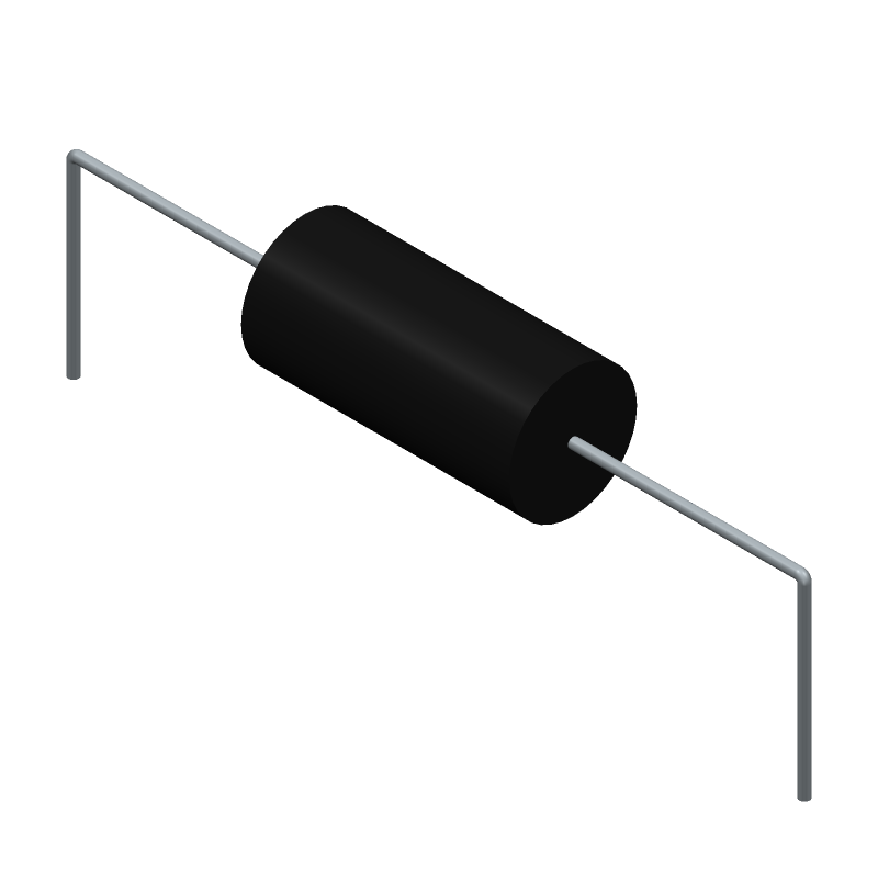 YAGEO (PHYCOMP) SQP500JB-1R5 (Resistors, Axial Diameter Horizontal Mounting) 3D model isometric projection.