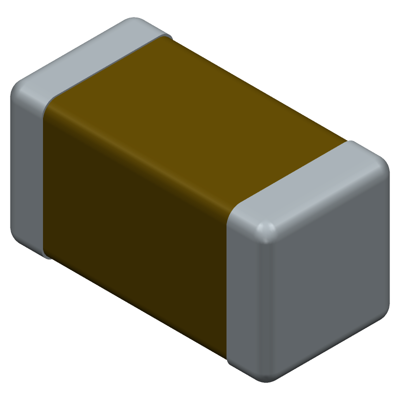Vishay VJ1206Y104JXQPW1BC (Capacitor Chip Non-polarised) 3D model isometric projection.