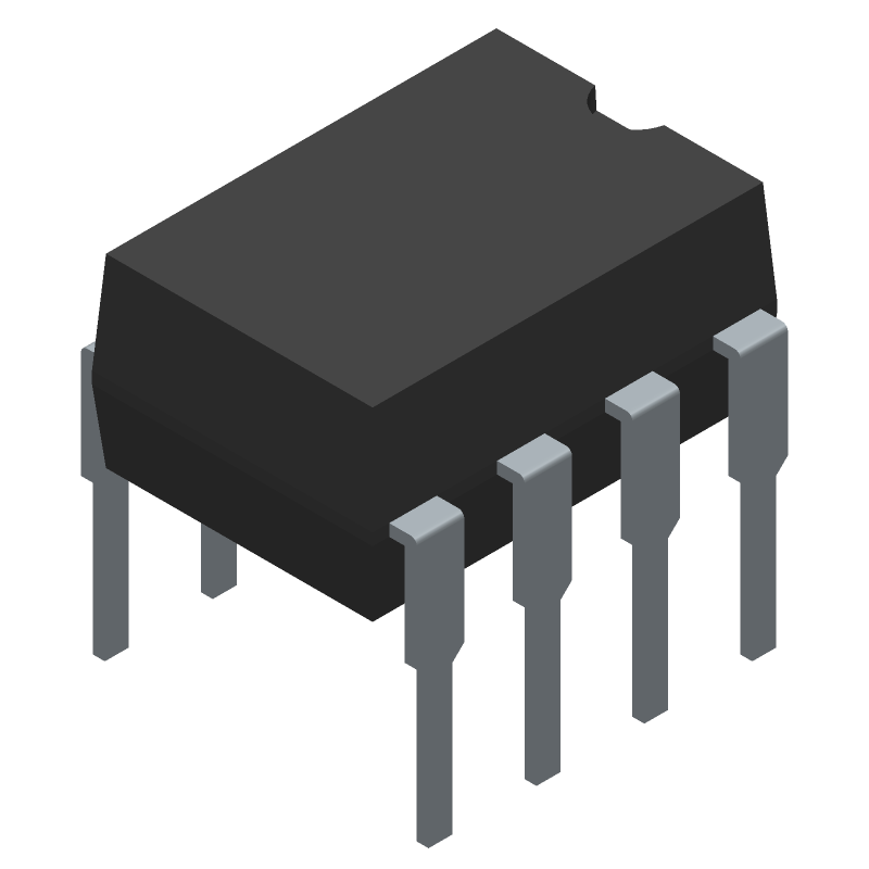 ON Semiconductor LM358NG (Dual-In-Line Packages) 3D model isometric projection.
