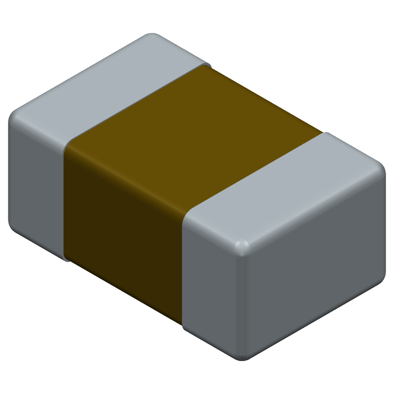 Kemet C0805C104K5RACTU (Capacitor Chip Non-polarised) 3D model isometric projection.