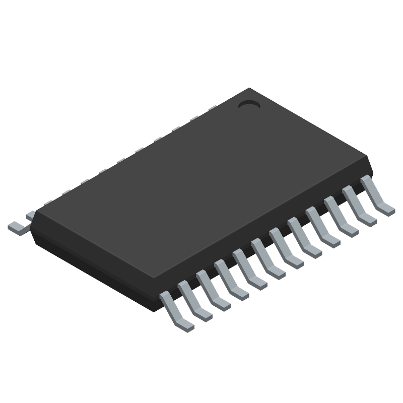 Analog Devices AD7124-4BRUZ (Small Outline Packages) 3D model isometric projection.