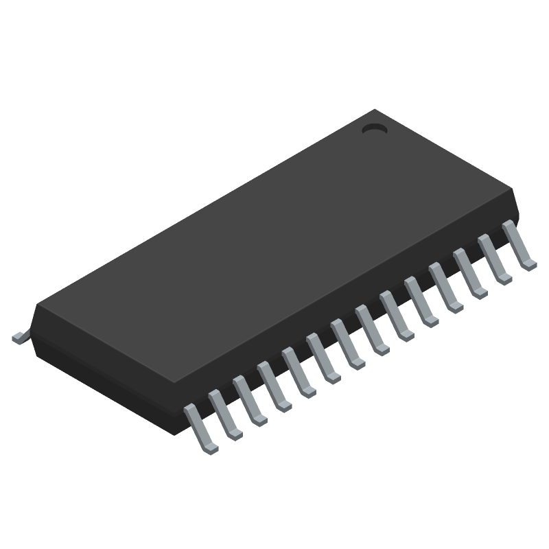 Microchip MCP23017T-E/SO (Small Outline Packages) 3D model isometric projection.