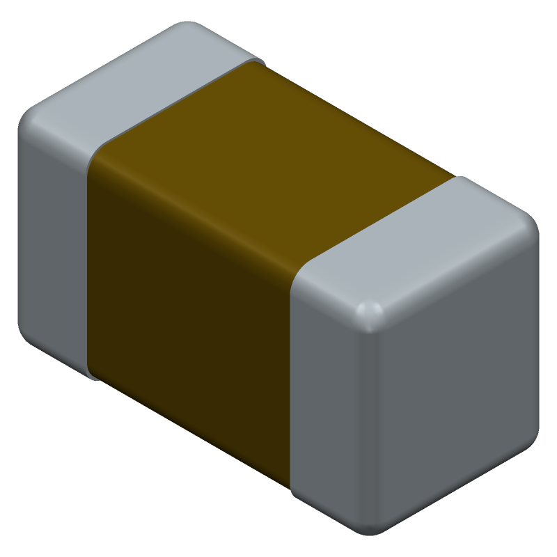 Murata Electronics GRM188R11H471KA01D (Capacitor Chip Non-polarised) 3D model isometric projection.