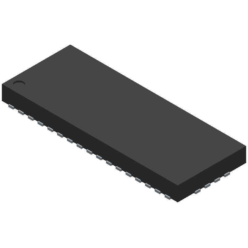 Texas Instruments TS3DV642A0RUAR (Quad Flat No-Lead) 3D model isometric projection.