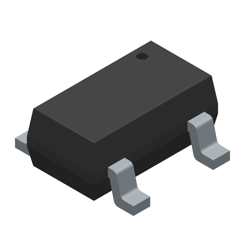 Diodes Inc. AP2112K-3.3TRG1 (SOT23 (5-Pin)) 3D model isometric projection.