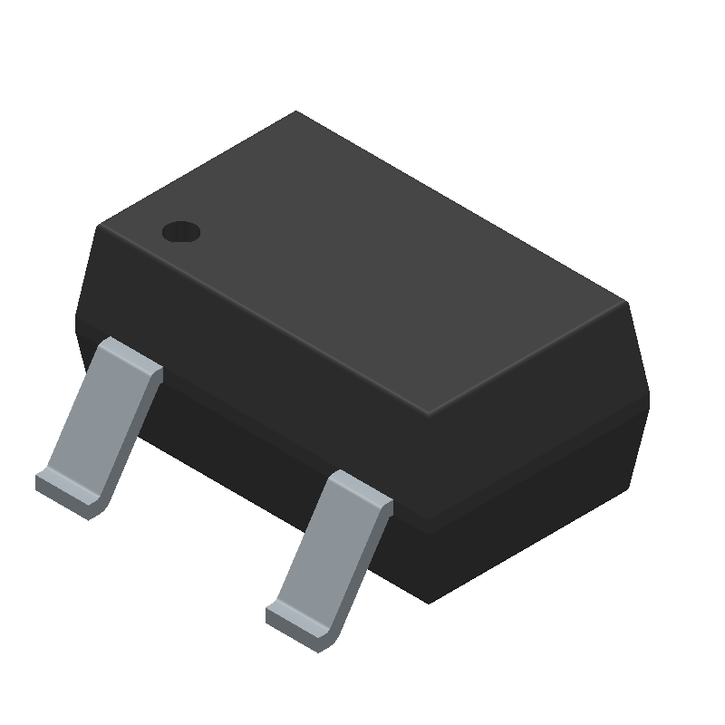 Infineon BSS138WH6327XTSA1 (SOT23 (3-Pin)) 3D model isometric projection.