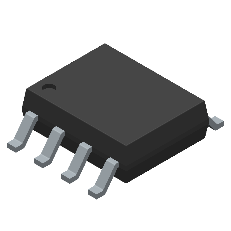 Texas Instruments LM358AD (Small Outline Packages) 3D model isometric projection.