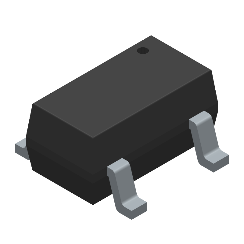 Microchip MCP73831T-5ACI/OT (SOT23 (5-Pin)) 3D model isometric projection.