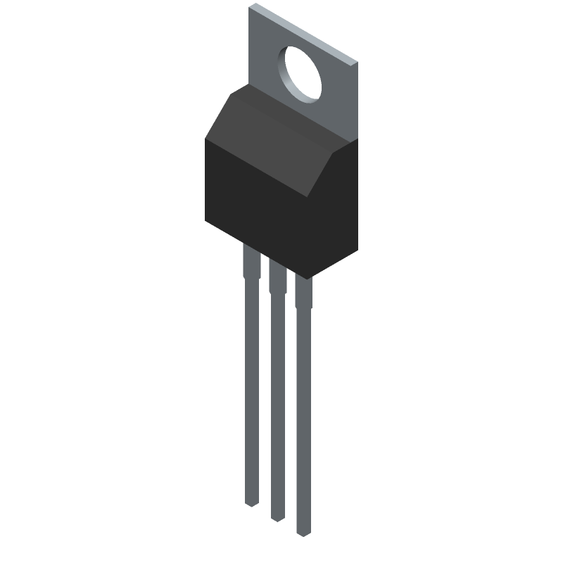 NJR NJM7805FA (Transistor Outline, Vertical) 3D model isometric projection.