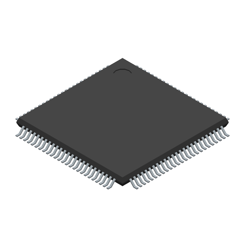 Microchip PIC32MZ2048EFM100-I/PF (Quad Flat Packages) 3D model isometric projection.