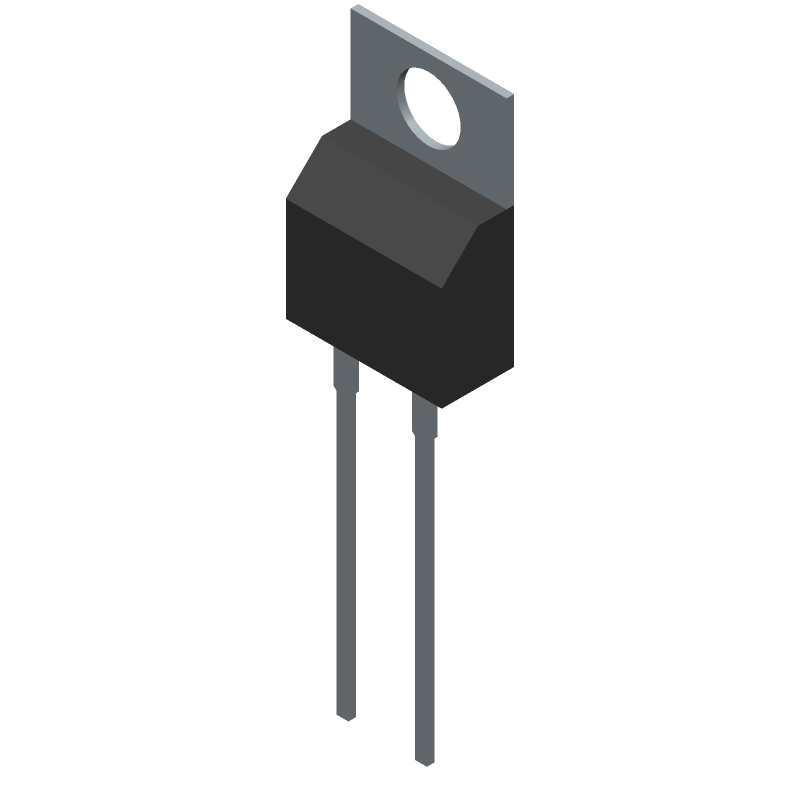 Wolfspeed C3D03060A (Transistor Outline, Vertical) 3D model isometric projection.