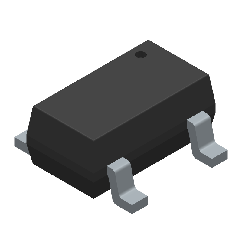 Microchip MIC5219-3.3YM5-TR (SOT23 (5-Pin)) 3D model isometric projection.