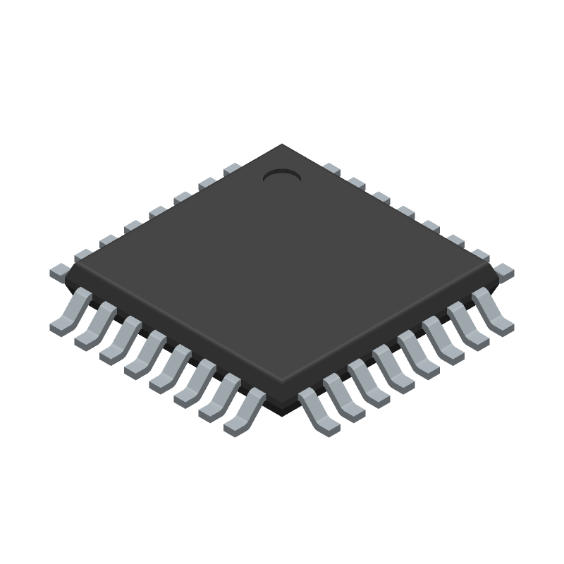 Microchip ATMEGA328P-AU (Quad Flat Packages) 3D model isometric projection.