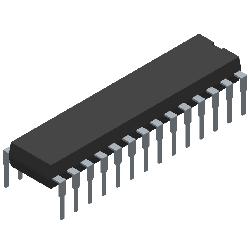 Microchip ATMEGA328-PU (Dual-In-Line Packages) 3D model isometric projection.
