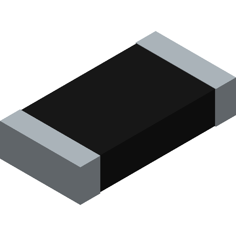 YAGEO (PHYCOMP) RC1206FR-072K49L (Resistor Chip) 3D model isometric projection.