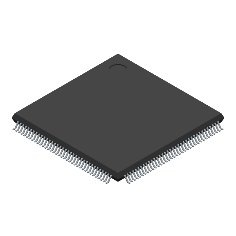 Altera Corporation 10M08SAE144C8G (Quad Flat Packages) 3D model isometric projection.