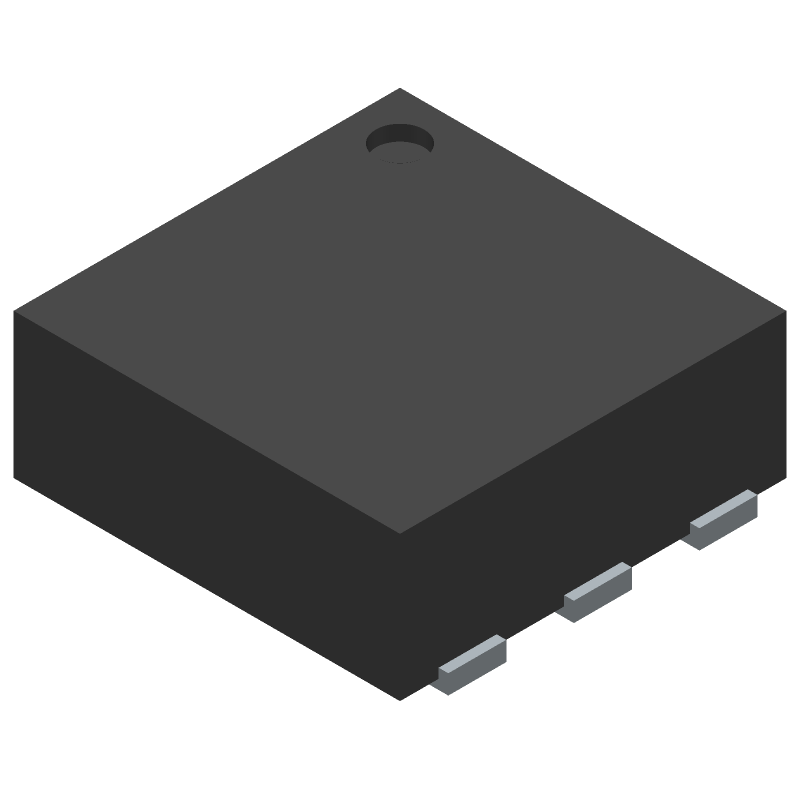 Texas Instruments TMP116AIDRVR (Small Outline No-lead) 3D model isometric projection.