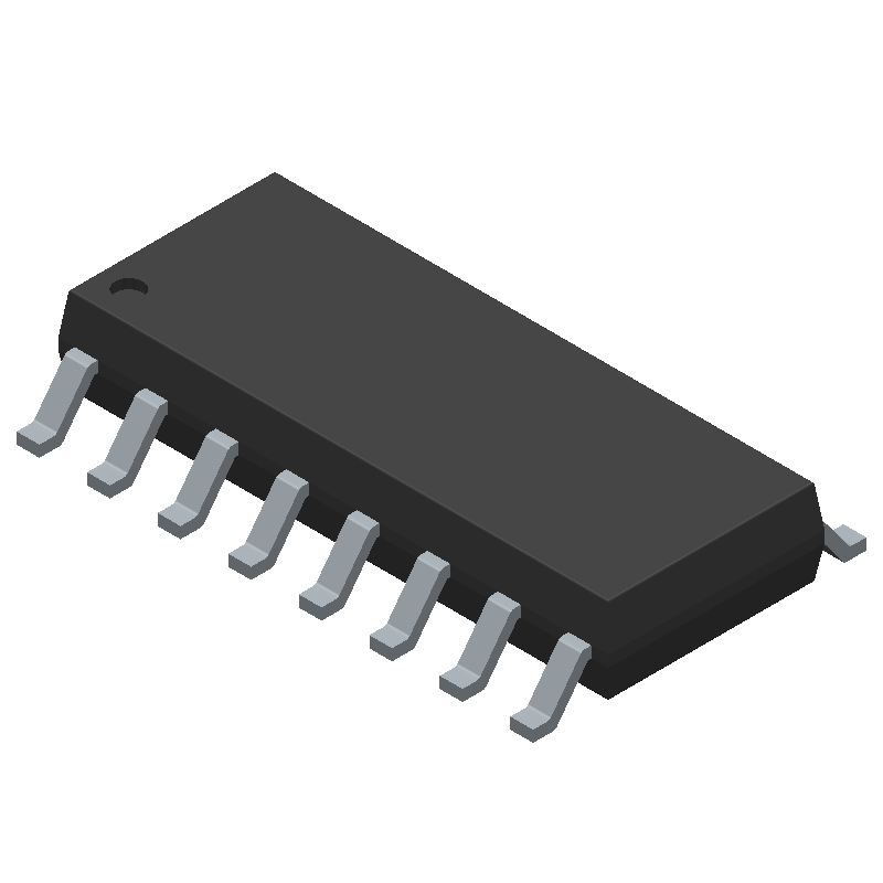 Texas Instruments MAX3232CDR (Small Outline Packages) 3D model isometric projection.