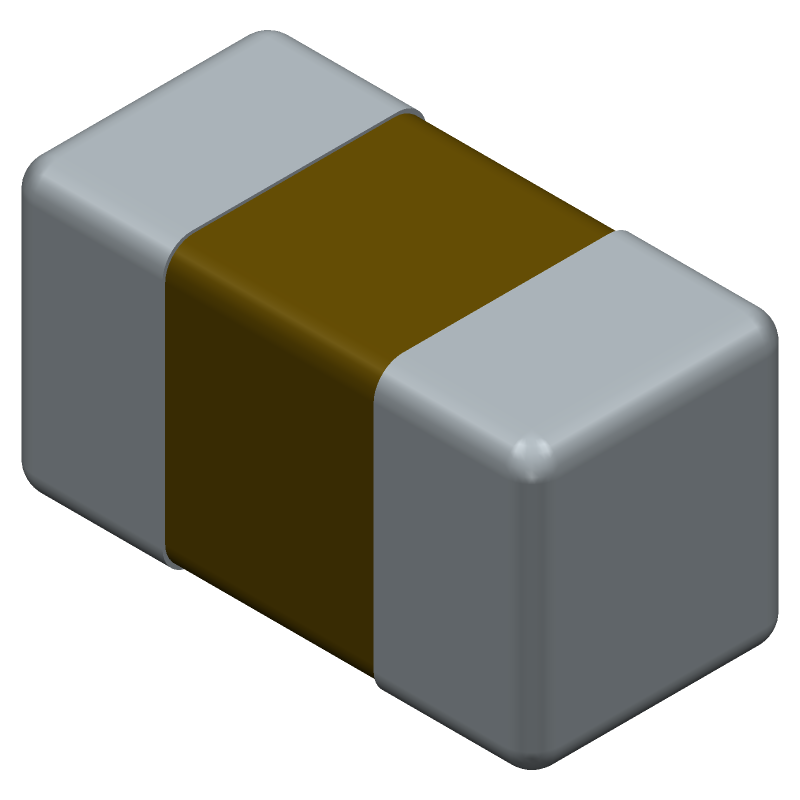 Kemet C0402C829D3GACTU (Capacitor Chip Non-polarised) 3D model isometric projection.