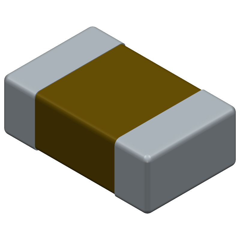 Murata Electronics GRM2165C1H220JZ01D (Capacitor Chip Non-polarised) 3D model isometric projection.